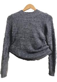 Blusa Curto Cropped De Pelucia Pelinhos Manga Longa Inverno