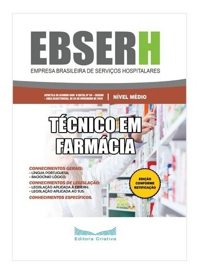 Apostila Ebserh 2019 - Técnico Em Farmácia