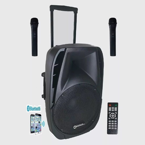 Caixa De Som Ativa 500w Rms Amplificada 15 Pl Bluetooth 2mic