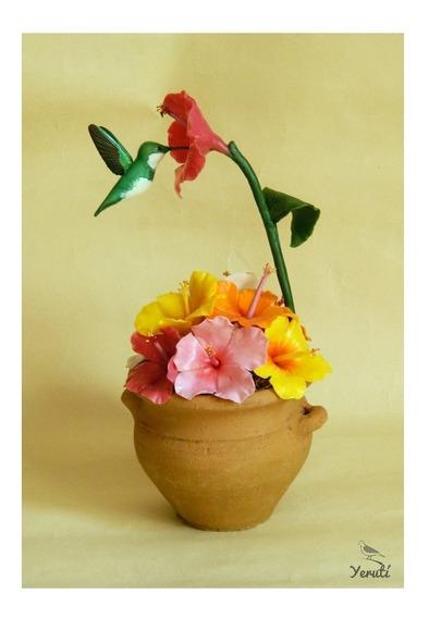 Vasija Flores Y Picaflor. Rosas Chinas. Colibri. Decoracion