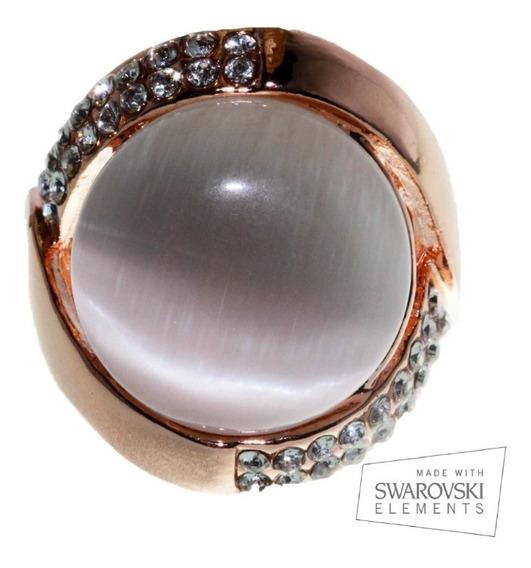 Anillo Swarovski Elements Dorado Cristales Oro Rosado Ase11