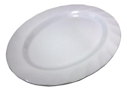 Imagen 1 de 9 de Plato Fuente Oval Melamina 25cm Blanco Silmar