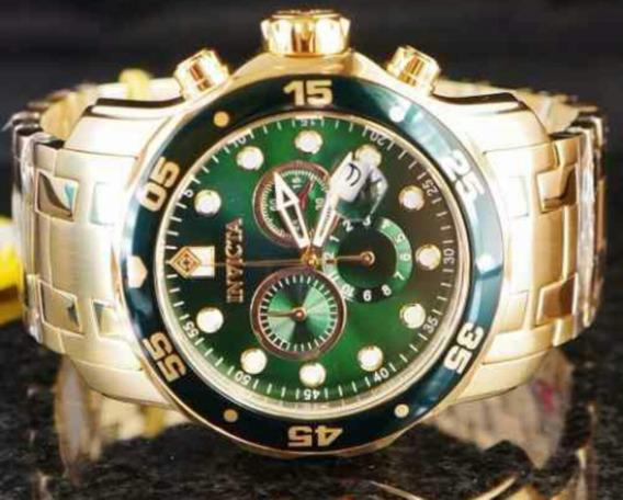 Relógio Invicta Scuba 0075 (fundo Verde ,ouro 18 K)