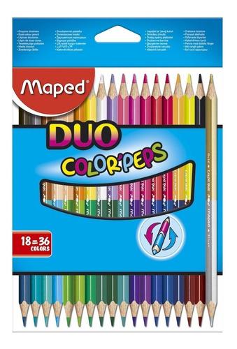 Imagen 1 de 3 de Lapices De Colores X18 Duo Colorpeps Maped 829601 Educando