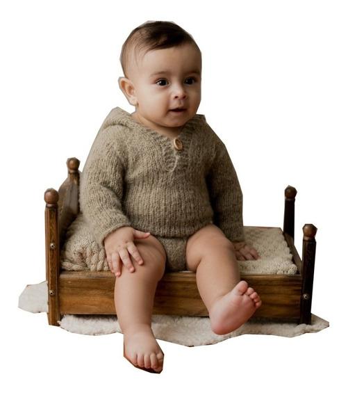 Mini Cama Envelhecida Prop Foto Newborn Acompanhamento Bebê
