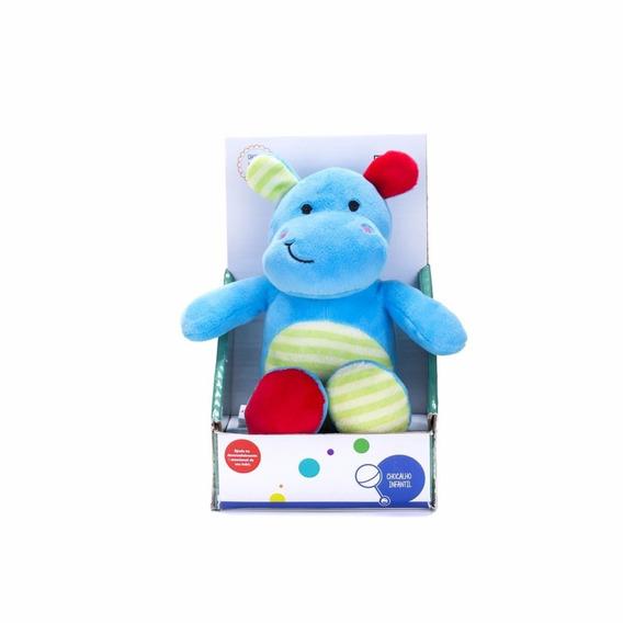 Hipopótamo De Pelúcia Azul Com Chocalho Unik Toys