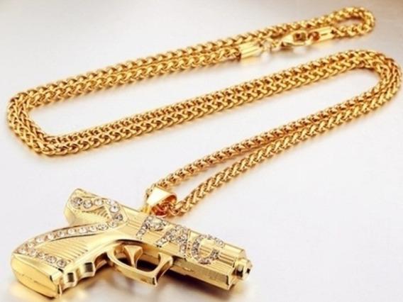 Colar Pistola Tupac 2pac Cor Ouro Com Zirconias Hip Hop