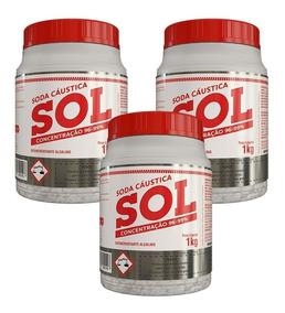 Kit 3 - Soda Cáustica Sol 1kg Com Concentração 96% A 99%
