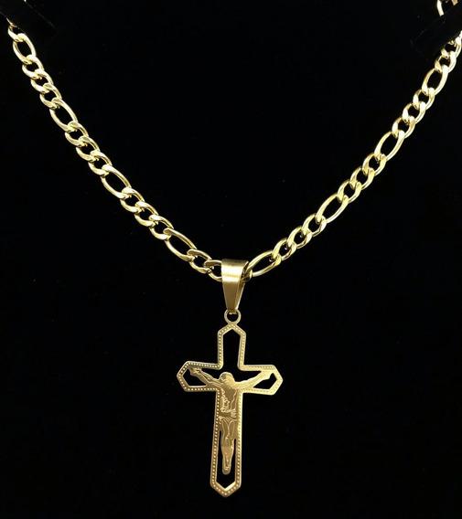 Corrente + Pingente Crucifixo Vazado.