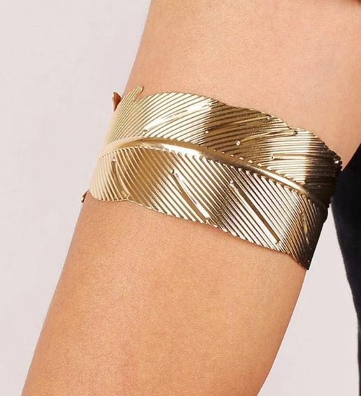 Linda Pulseira Bracelete De Braco Dourada Folha Fashion Luxo