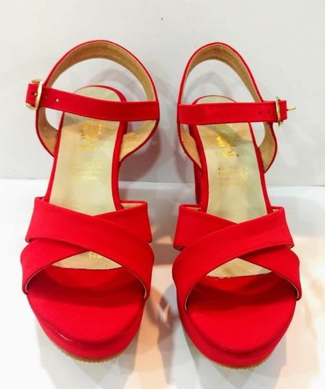 Zapatos Tacón Rojo Moda Dama Mujer Casual Cómodos