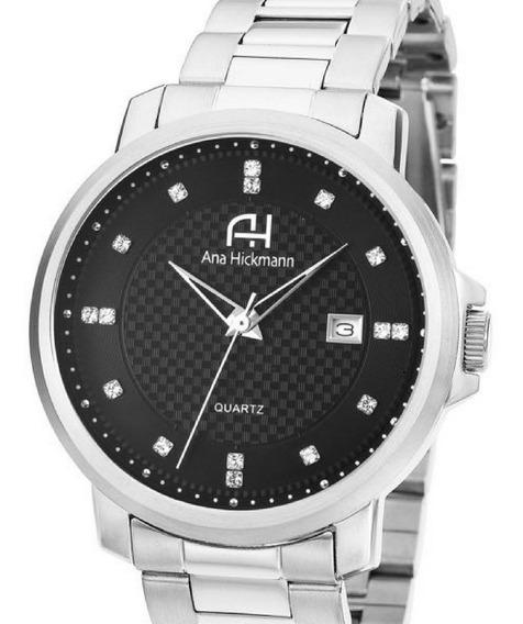 Relógio Ana Hickmann Prateado Grande Original Ah29061t