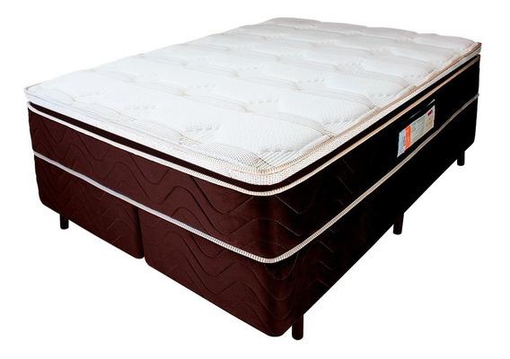 Cama Box Queen Colchão Mola Verticoil Pillowtop 158x198x62cm