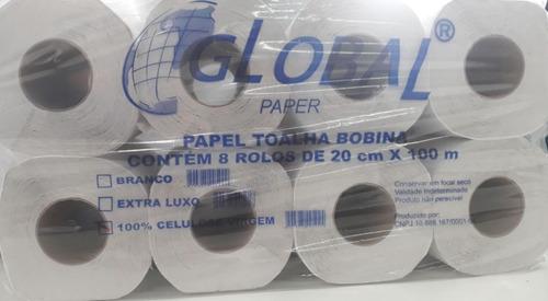 Papel Toalha Em Bobina 8 Rolos Com 100 Metros 100% Celulose