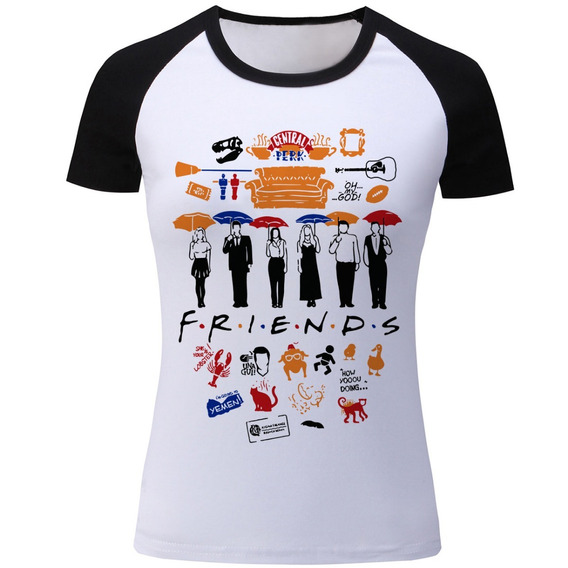 Camiseta Raglan Feminina Friends Central Perk Séries Seriado