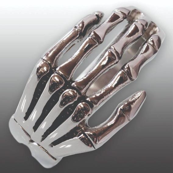 Anel Gótico Esqueleto Da Mão Aço Inoxidável