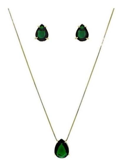 Conjunto Feminino Verde Esmeralda Gota Banhado Ouro 18 K