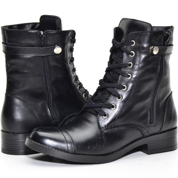 Coturno Feminino Couro Atron Shoes Amarrar 7080 Promoção Queima De Estoque Envio Imediato **--**