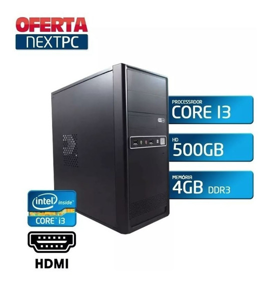 Pc Cpu Intel I3 + Mem. 4 Giga Hd 500gb