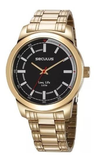 Relógio De Pulso Seculus Masculino 23643gpsvda3 Dourado