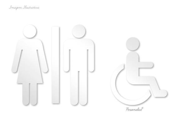 Placa Indicativa Banheiro Masc E Fem E Deficiente Acrilico
