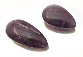 Par De Pedras Preciosas Naturais Ametista Cabochao J13476