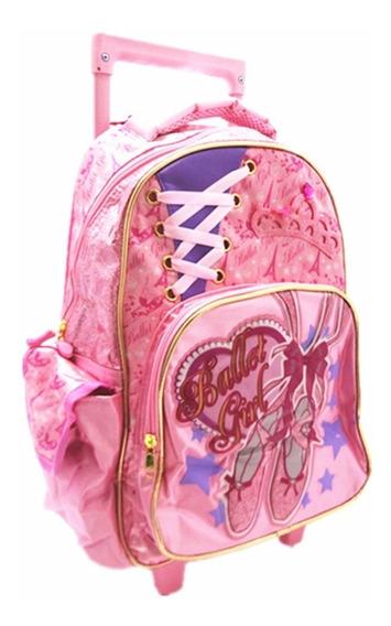 Mochila Infantil Feminina Ballet Girl C/rodinhas Fuseco 3213