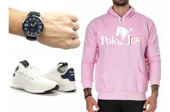 Tenis Masculino Polo Joy Sapatilha C/ Relógio E Moletom