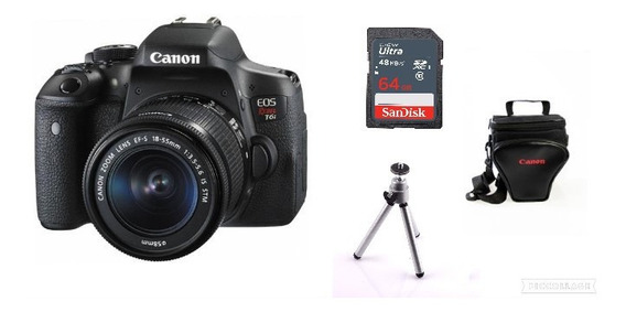 Câmera Canon T6i C/ 18-55mm + 64gb + Bolsa + Tripé