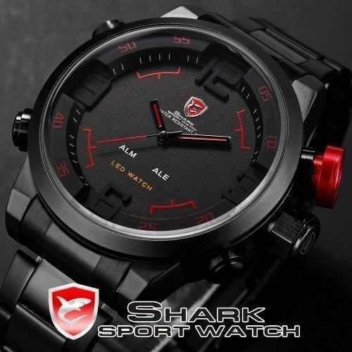 Relógio Shark Militar Analógico E Digital Original Na Caixa