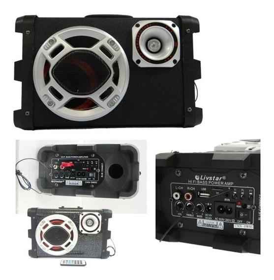Caixa De Som Bluetooth Amplificador Usb Fm Controle Remoto