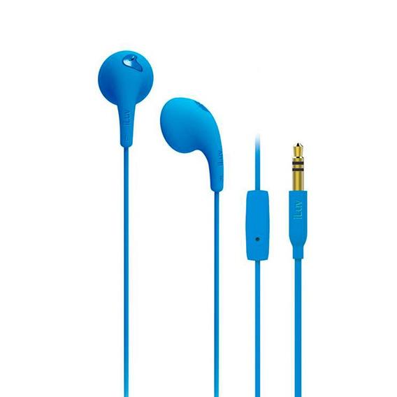 Earphone Fone De Ouvido Com Microfone Earbuds Iluv - Azul