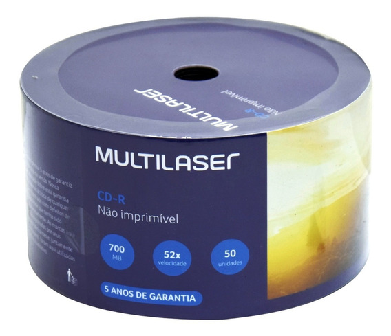 50 Midia Cd-r Virgem Multilaser C/logo 52x 700mb 80min Cdr