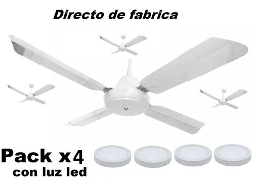 Pack X 4 Ventilador De Techo 4p Metal Blanco + Panel Led 18w