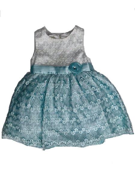 Vestido Niña Fiesta Bautismo Bebé Celeste