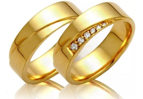 Par Alianças 8 Grs 6mm Ouro 18k 750 Com Zirconias Casamento
