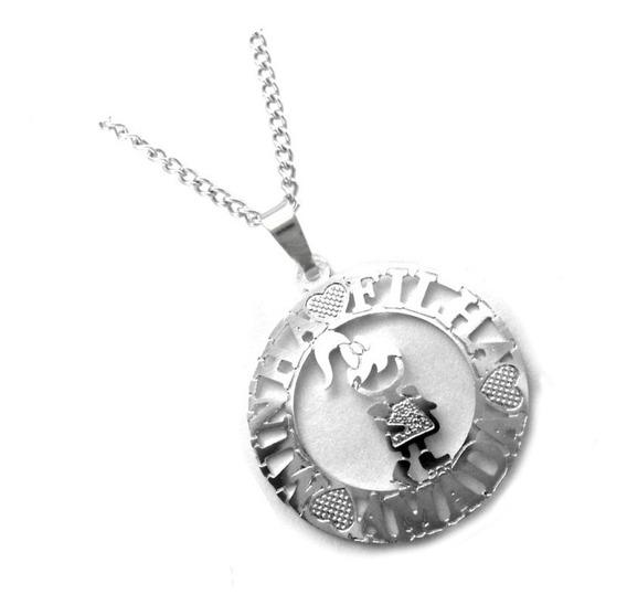 Colar E Pingente Menina Medalha Minha Filha Amada Aço Inox