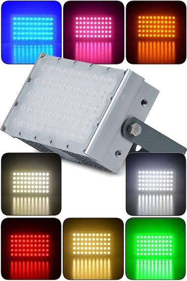 Refletor De Led Projetor 50w 5000lms Luz Azul Rosa Laranjado Vermelho Branco Neutro Quente Frio Ip68 Prova D