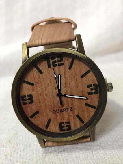 Relógio De Pulso Cor Madeira Casual Quartz