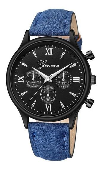 Reloj Hombre Geneva Piel Vinil Moda Caballero Elegante B246