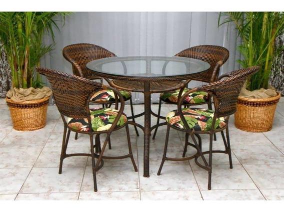 Mesa 4 Cadeiras De Cozinha Sala Em Fibra Sintética. Ideal Para: Varandas, Piscinas Pergolado Áreas Externas