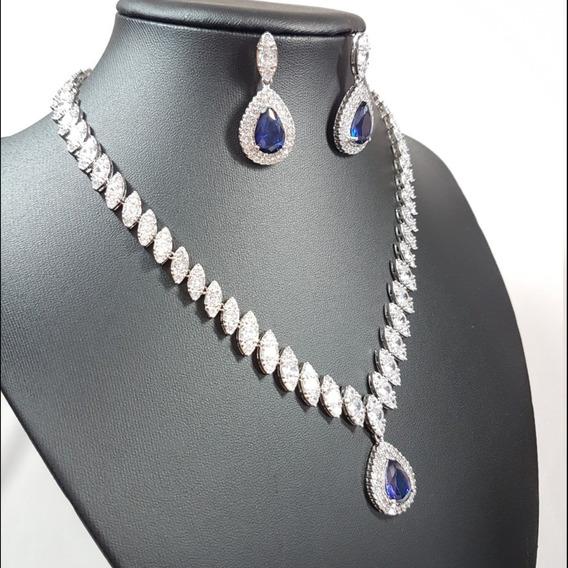 Conjunto Colar Brincos Cravejados Zircônia Gota Azul Safira