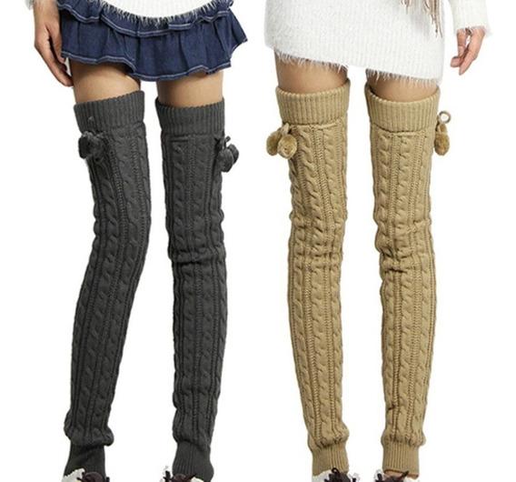 Calentadores Tejidos Crochet Cute Mujer Largos Pompon Lindos