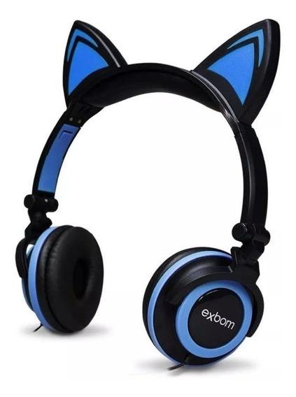 Headphone Orelhas De Gato Com Led Exbom