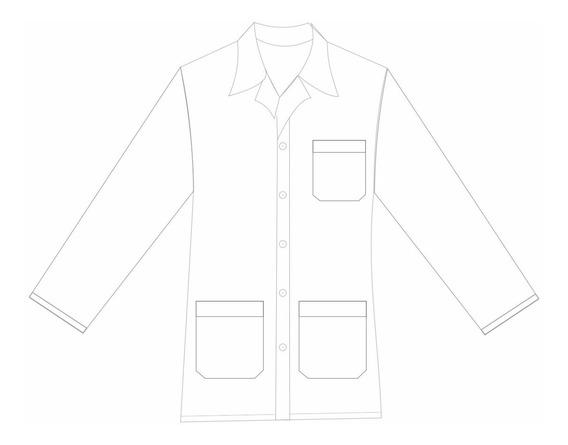 Jaleco 3/4 Masculino Oxford Branco Manga Comprida Pp Ao Gg