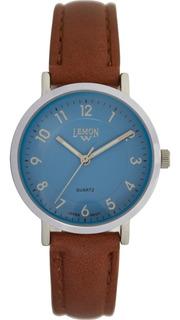 Reloj Pulsera Lemon Malla De Cuero, Caballero - L1308.65