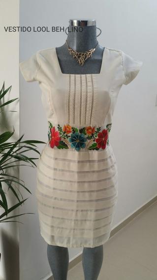 Vestido Tipico Bordado De Yucatán Loolbe Lino