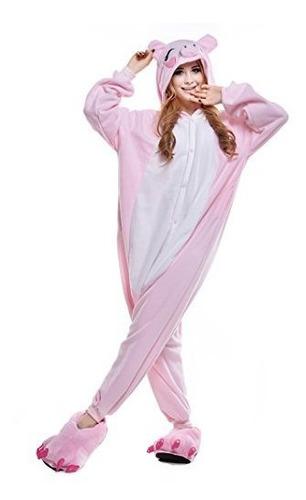 Newcosplay Pinkblack Traje De Cerdo Traje De Dormir Pijama A