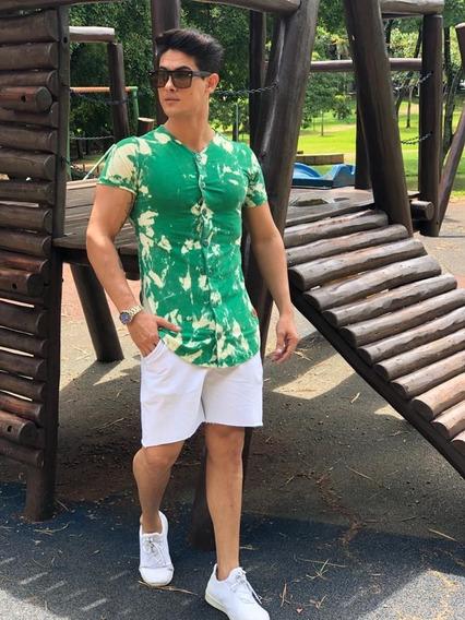 Camisa Long Line Camiseta Masculina De Botão