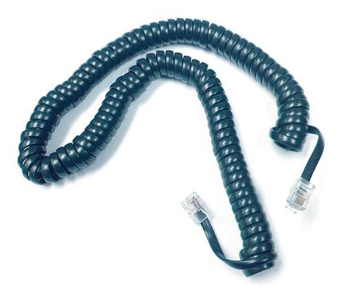 Imagen 1 de 3 de Cable Rulo Telefonico Armado 50 Cm Rj9 Negro E1050